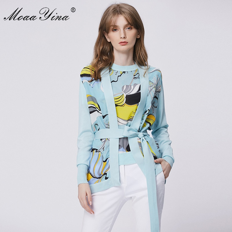 MoaaYina primavera moda de manga larga de punto Camisetas De mujer elegante estampado encaje hasta Cardigans de seda Patchwork abrigo tipo jersey de lana