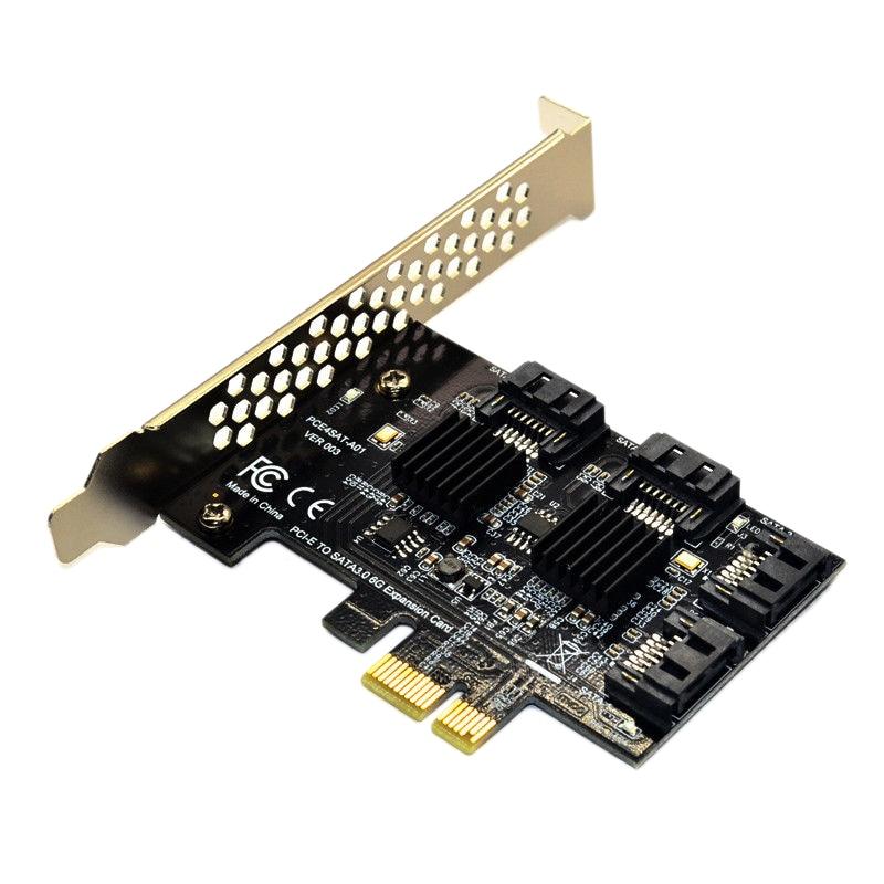 Pcie Pci Express To 6G Sata3.0 4-Port Sata Iii توسيع بطاقة وحدة التحكم محول/محول Pcie الناهض توسيع لوح مهايئ Fo