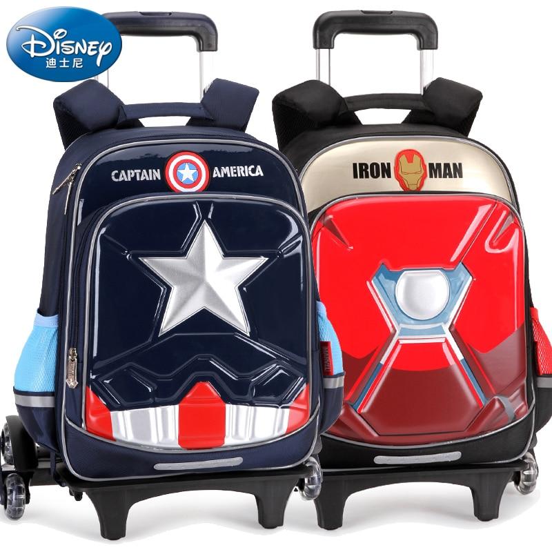 Marvel Avengers Iron Man Captain America Children's Trolley Schoolbag Six-wheel Drag Waterproof Large Capacity Back To School