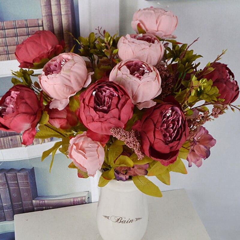 Peony flores artificiais vintage de seda, decoração de festas, pequenas rosa, suprimentos para festival, decoração para casa, buquê