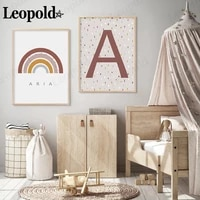 simple english alphabet series canvas poster creative rainbow letters a and n bohemian style kids room decoration baby gifts