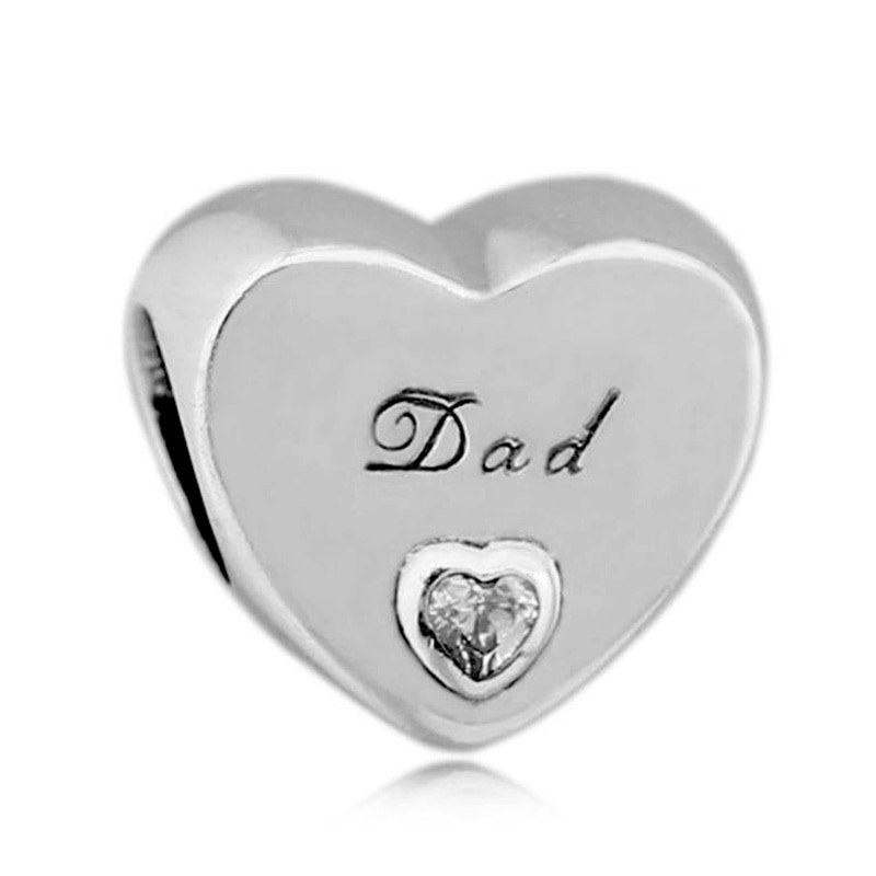 Nuevo dije de cuenta en plata esterlina 925 papá amor corazón con cuentas de cristal para mujer Pandora pulsera brazalete Diy joyería
