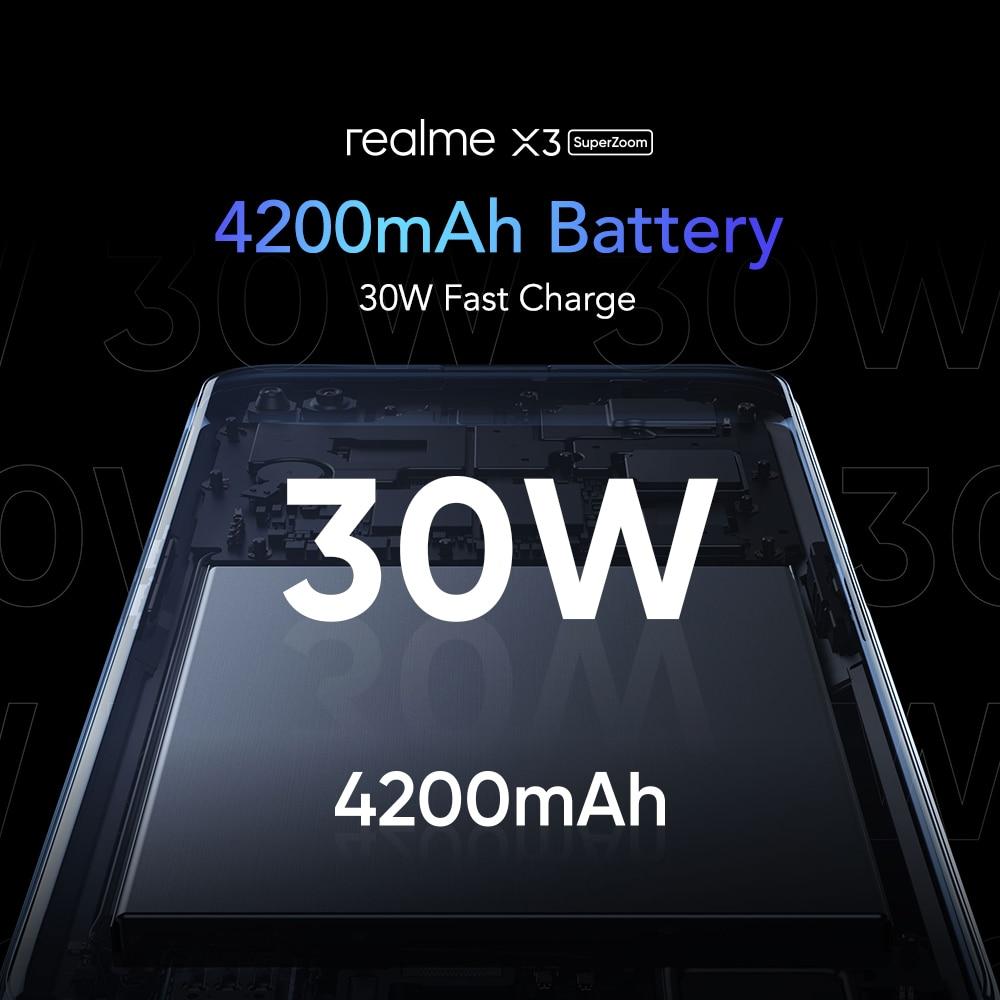 Фото4 - Realme X3 мобильный телефон Глобальная версия суперзум 8 ГБ 128 Snapdragon 855 + 120 Гц Дисплей 64-мегапиксельная четырехъядерная камера UFS 3,0 NFC 30 Вт Зарядно...