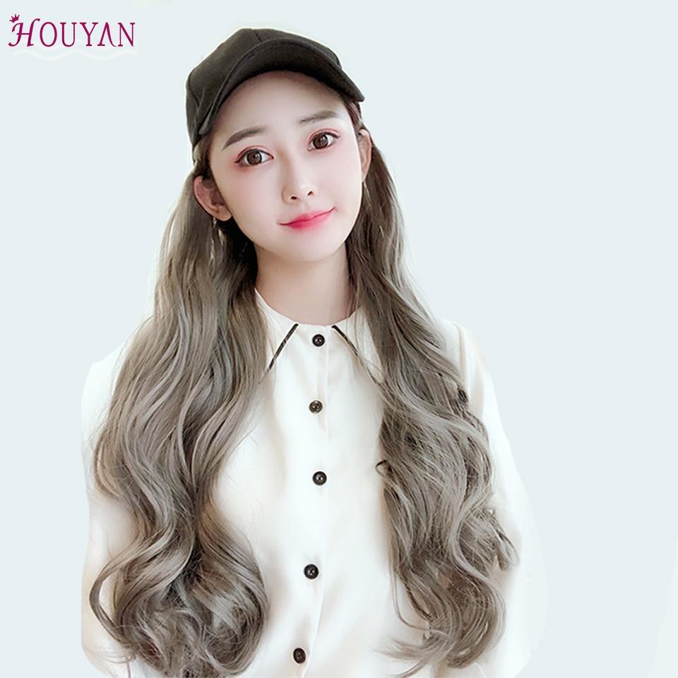 HOUYAN nuevo gorro ondulado largo peluca Granny Grey peluca sombrero conexión Natural sintético resistente al calor pelo completo sombreros largos ondulados