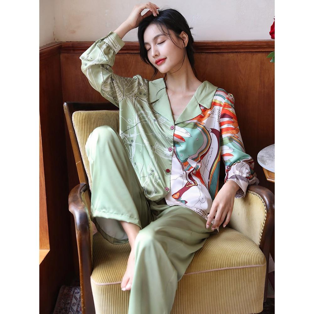 ميزون غابرييل خريف 2021 جديد مطبوعة الحرير بيجامة من الساتان مجموعة ملابس النوم للنساء 2 قطع طويلة الأكمام بيجامة البدلة