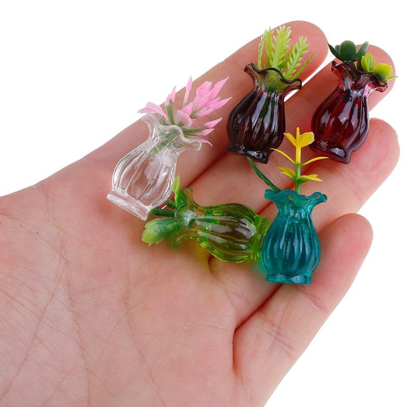 Miniaturas para casa de muñecas, 5 uds., maceta de cerámica de colores 112, muñeca artesanal para manualidades, casa, cocina, jarrón decorativo de cerámica + flor