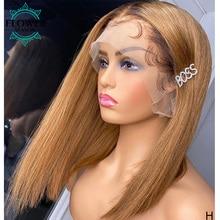 4 27 Ombre perruques miel blond sans colle dentelle avant court Bob perruques droite péruvienne cheveux humains 130% Remy pour les femmes FlowerSeason