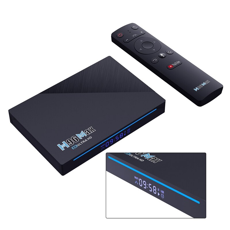 H96 ماكس شبكة لاعب RK3566 رباعية النواة 64 بت Cortex-A55 8 + 64GB ثنائي النطاق واي فاي Android11.0 صندوق التلفزيون BHT 4.0