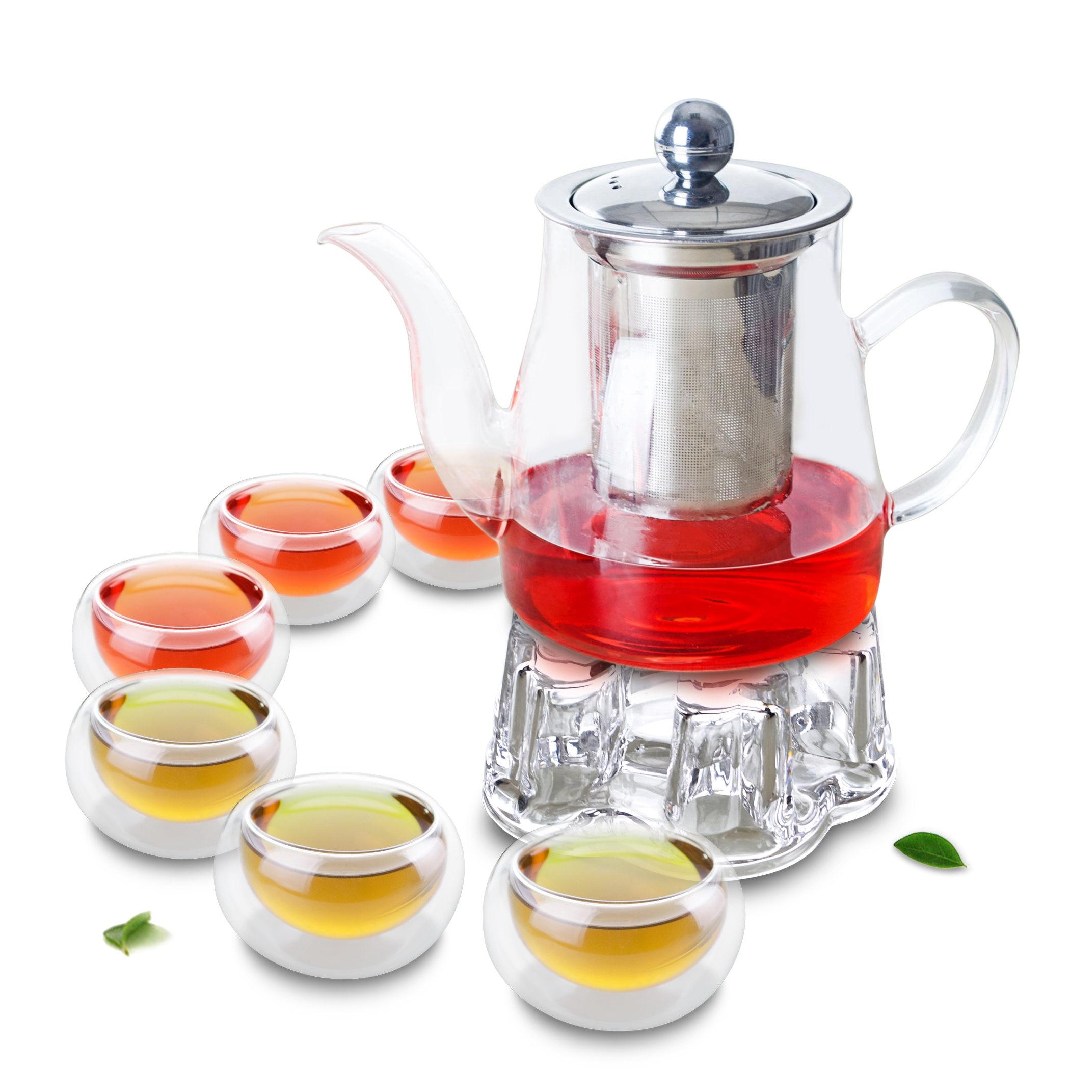 1x 8in1 الكونغ فو طقم شاي القهوة B-Big 740 مللي براد شاي زجاجي مع مساعد لتحليل الفولاذ + الكريستال دفئا B + 6 * كوب طبقة جدار مزدوج