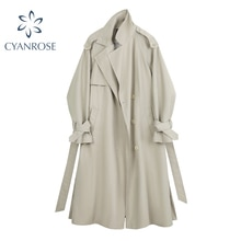 2021 Autumn Elegant Long Women's Trench Coat V Neck Casual Solid Loose Lace-Up Long Sleeve England W