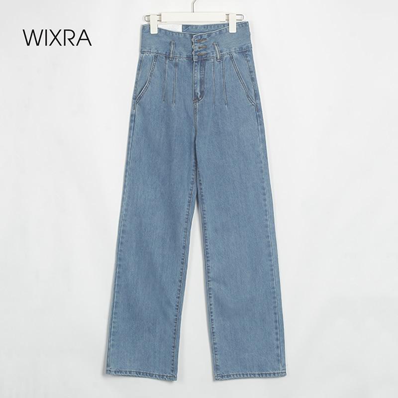 Wixra إمرأة أنيق شارع نمط الدينيم السراويل الطويلة السيدات الربيع الصيف ثلاثة أزرار عالية الخصر جيوب جينز غير رسمي