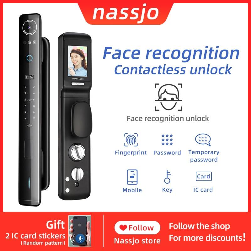 Review Nassjo Smart Face Recognition door lock fingerprint IC card password key outdoor household electronic door lock