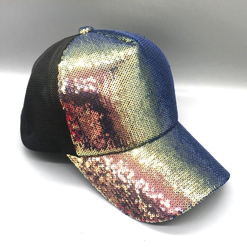2021 новые яркие красивые регулируемые женские Панамы шляпы для вечевечерние НКИ клуба Радужные Блестки блестящая сетчатая бейсболка