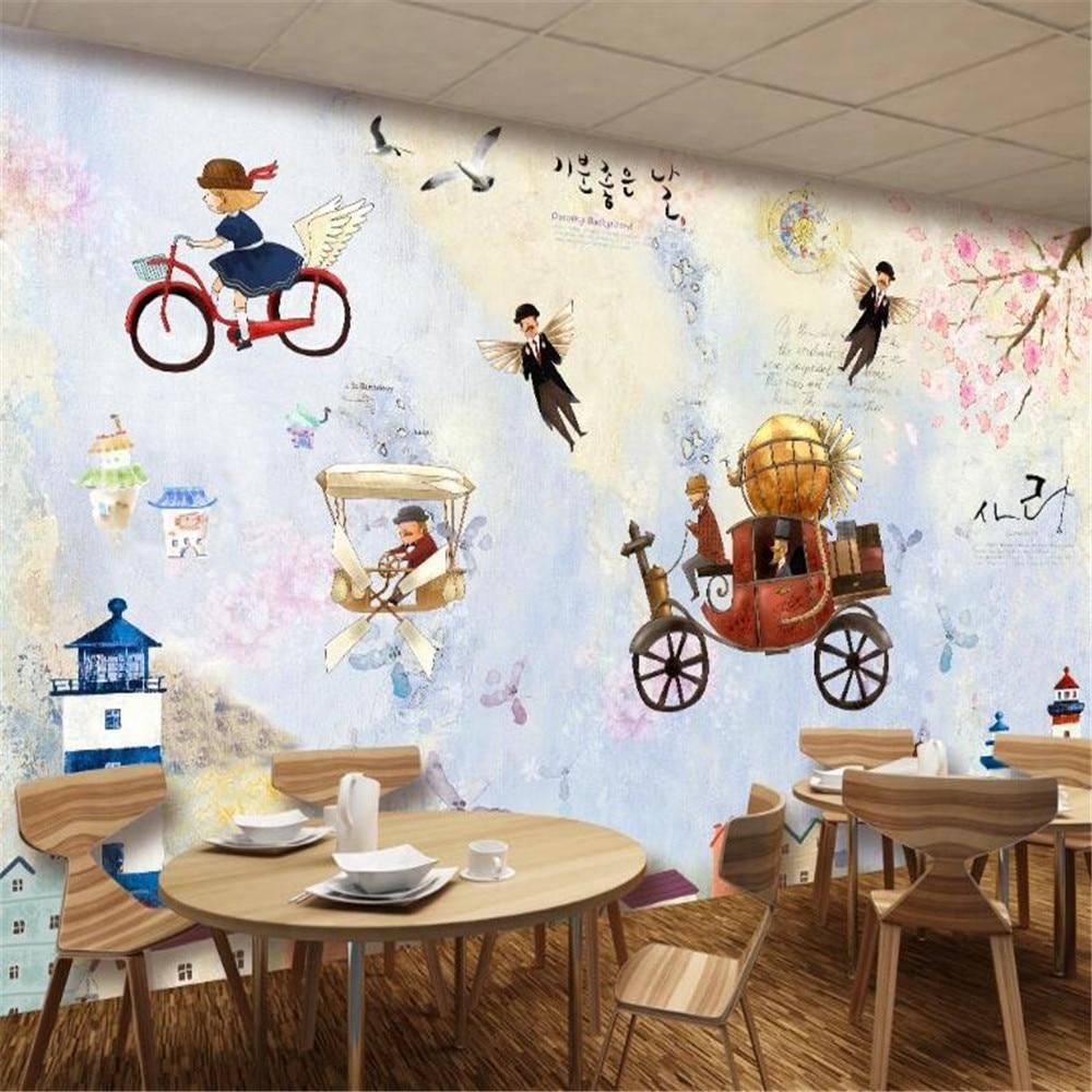 Milofi papel pintado personalizado revestimiento de paredes mural estilo coreano dibujos animados fantasía faro TV sofá restaurante pared de fondo
