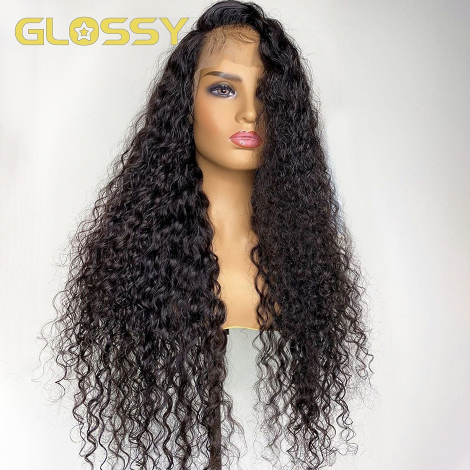 28 30 Inch Deep Wave Frontal Wig Brazilian Curly Human Hair Wigs for Women 4x4 Closure Wig HD Transparent Lace Front Wig