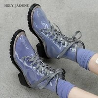 2020 new aleafalling women rain boots mature lady lace up waterproof lady shoes transparent colors ankle outdoor girls shoes