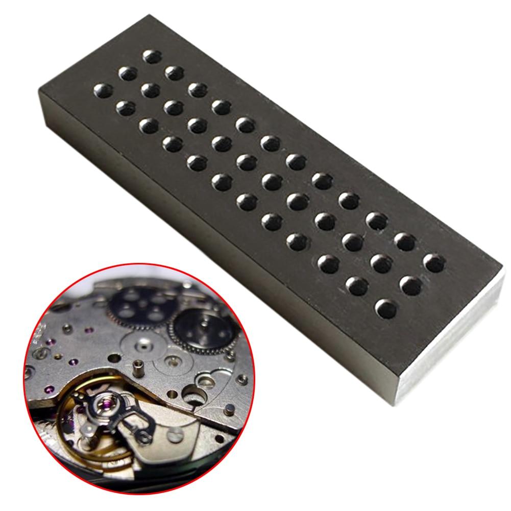 8724A outils horlogers piquet de rivetage en acier avec 36 trous de diamètre 0.5mm-2.5mm pour réparation de montres