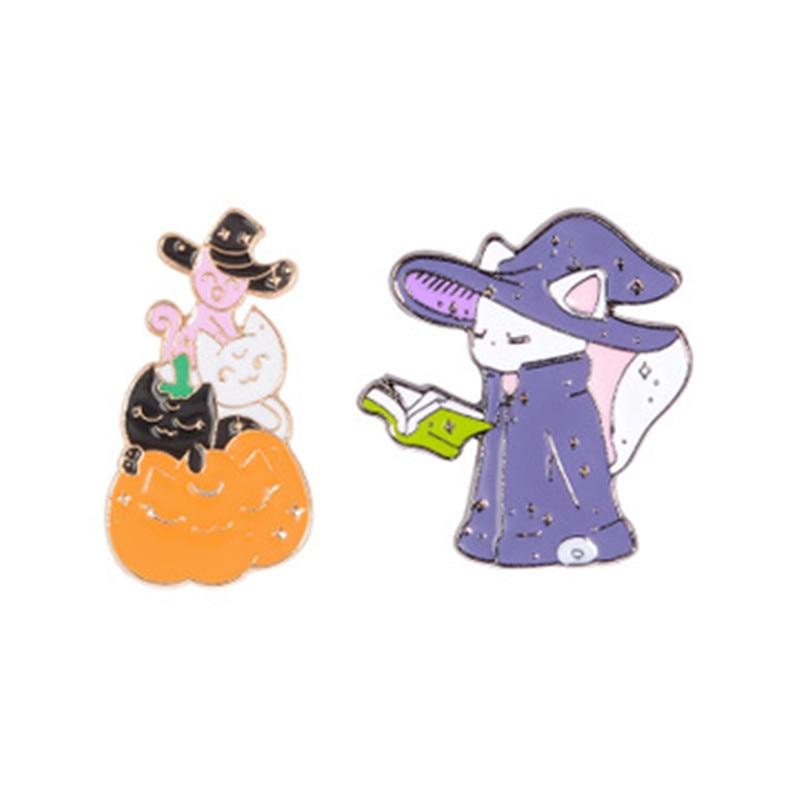 Feliz Halloween divertido esmalte Pin calabaza elfo fantasma negro púrpura gato brujas joyería Magic Hat Wizard broches insignias de solapa pins