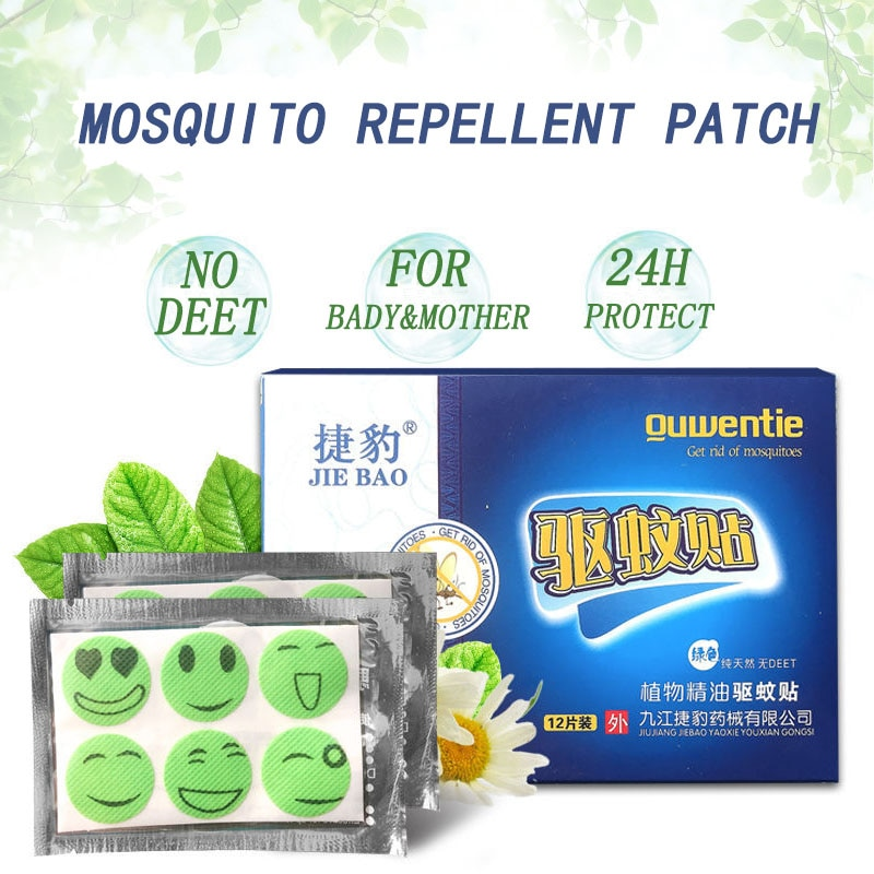 12pcs/box Cartoon Mosquito Repellent Patches 100% Natural Non-Toxic And Safe Long-term Protection Keep Mosquitoes Away From Baby