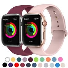 Bracelet en Silicone pour montre Apple 42mm 38mm 44mm 40mm Bracelet en caoutchouc bracelets de montre Bracelet noir Iwatch série 5/4/3/2/1 Bracelet