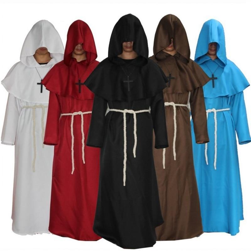 Histórico medieval renascentista druida monge cosplay trajes comic con vestes com capuz capa frade festa de halloween adereços