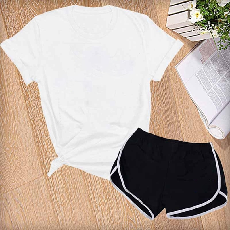 Summer 2021 Women Short Sleeve Shorts Two Piece Set Leisure Sports Yoga Shorts for Fitness