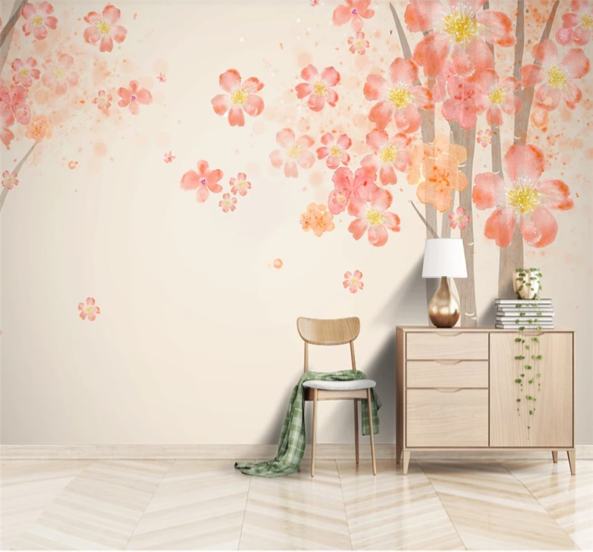 Hand-painted watercolor Nordic decorative background wall modern simple fashion custom wallpaper mural 8D waterproof cloth