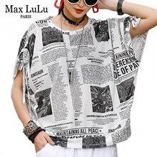 Max LuLu New 2020 Fashion Korean Summer Streetwear Ladies Printed Tee Shirts Womens Casual T-shirts Cotton Female Tops Plus Size