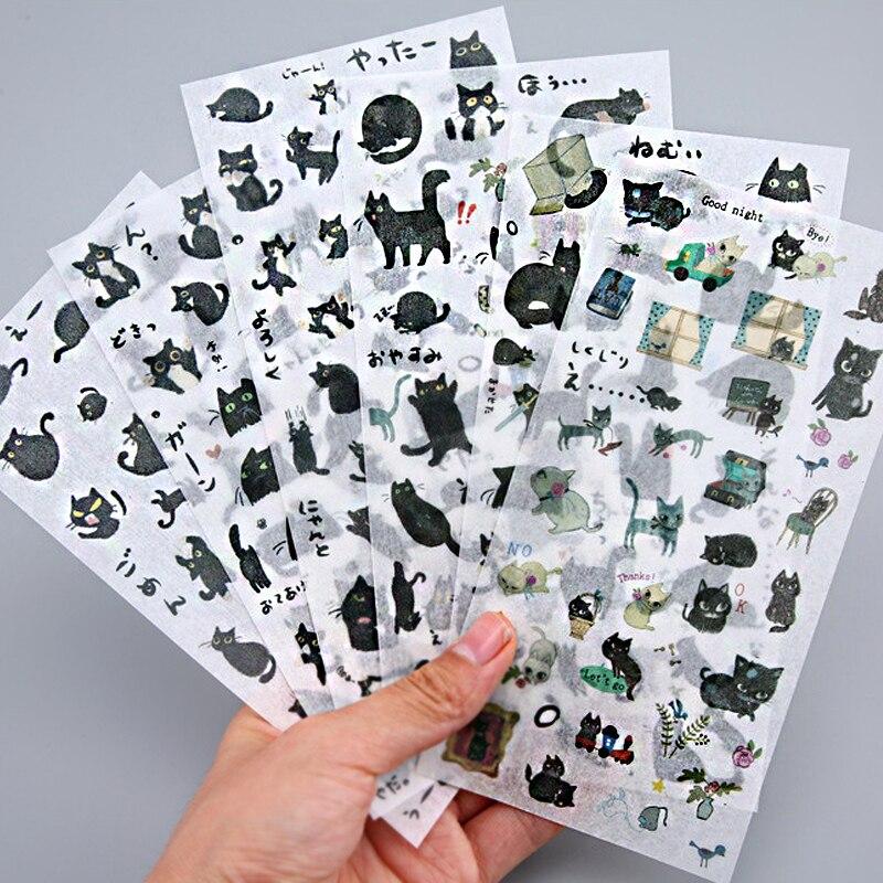 6 листов, декоративные наклейки с изображением маленькой черной кошки