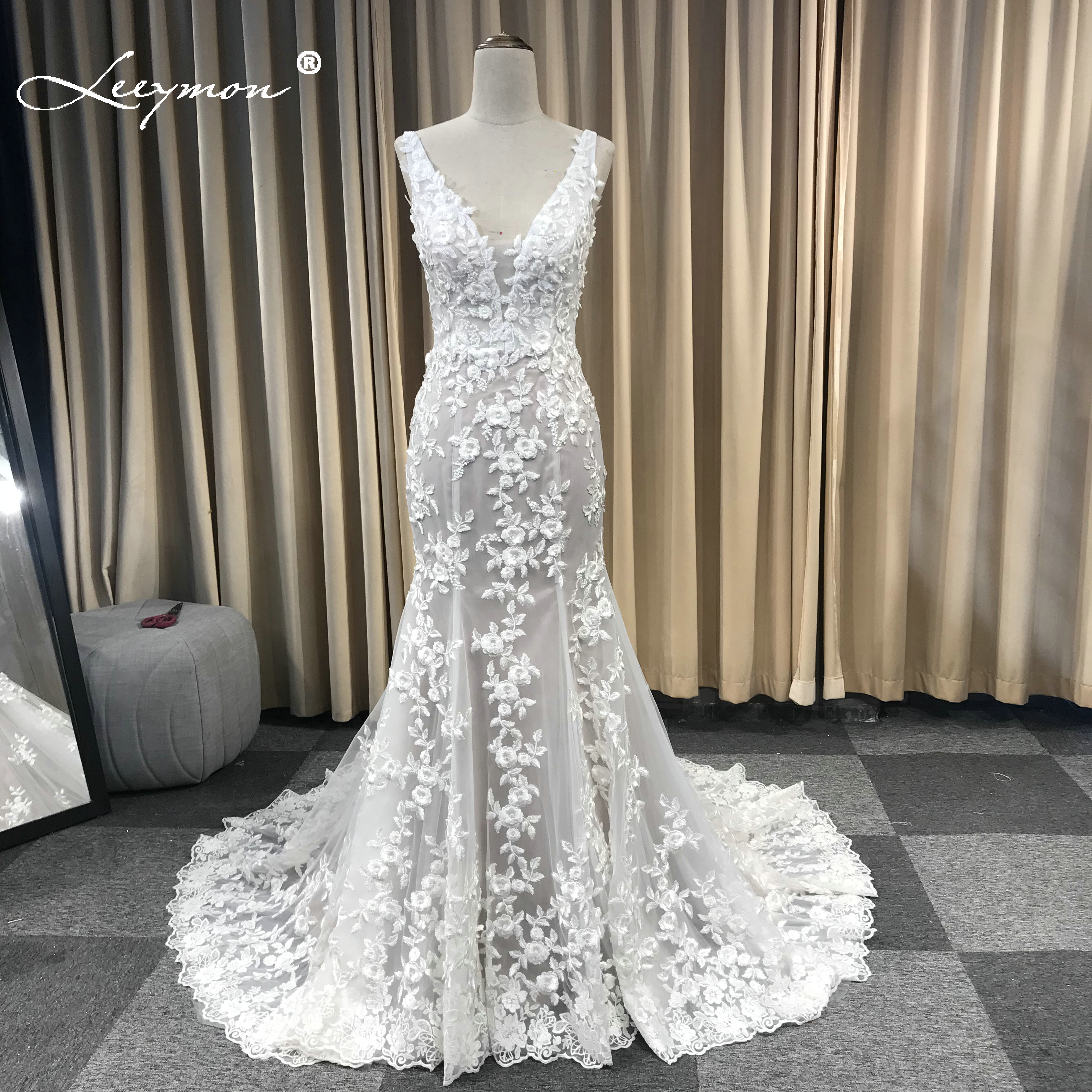 Leeymon حورية البحر العاج الرباط يزين فستان الزفاف الخامس الرقبة مطرز مثير عارية الذراعين فستان زفاف رداء دي Mariee