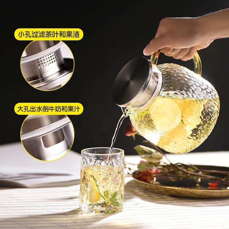 2021 جديد براد شاي مجموعة سميكة زجاج بوروسيليليك مرتفع شفاف مقاوم للحرارة براد شاي عصير فو طقم شاي إبريق شاي بغطاء