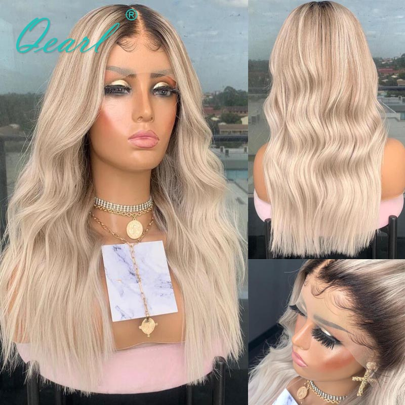 Natural Wave Lace Front Wig Warm Platinum Blonde Ombre 13x4/13x6 Human Hair Wigs Peruvian Remy Hair Pre Plucked 150% 180% Qearl