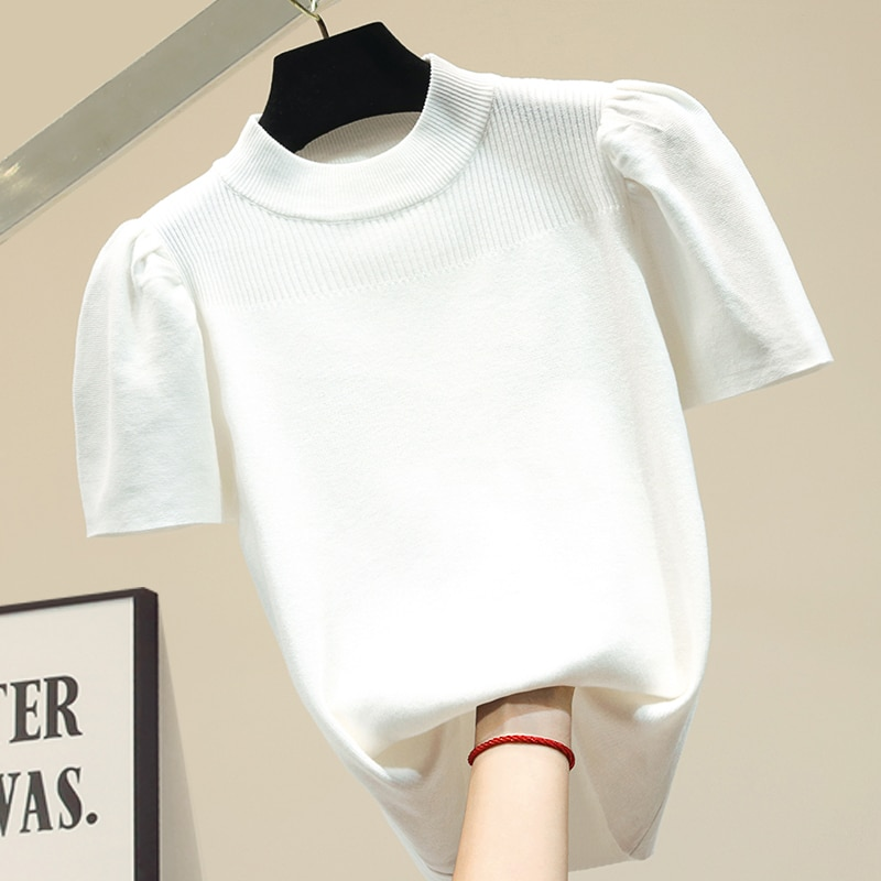 Fashion O collar Solid color sweater bottoming shirt women's Puff sleeve thin pullover  summer Ice silk Short sleeve