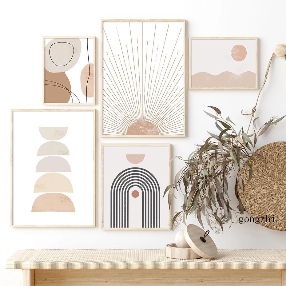 Абстрактные геометрические постеры в стиле бохо, солнце, радуга, бежевый, постеры, нейтральная Картина на холсте и принты, настенные картины...
