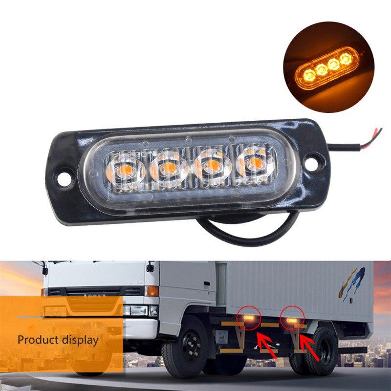 1pcs Car-Styling Bright White Yellow Red Blue 4 LED Car Truck Van Beacon Strobe Warning Flashing Emergency Grille Police Light