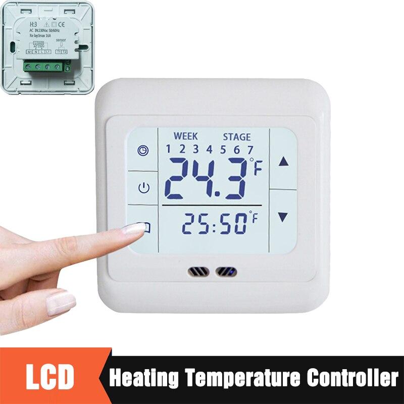 Домашний терморегулятор с сенсорным экраном, Электрический контроллер температуры для системы отопления/для теплого пола