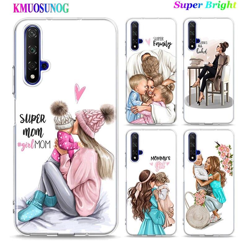 Caja del teléfono de silicona bebé mamá chica impresión para huawei P30 Lite P Smart Honor 7A 8 8A 8C 8X 10i Y5 Y6 Y7 Y9 Pro 2019 de 2018 de 2017
