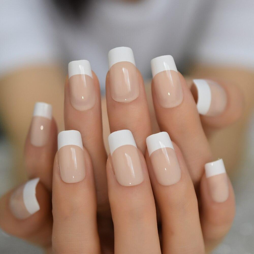 Uñas postizas para manicura, color blanco, francés, Natural, cuadrado, prensado de puntas para Uñas postizas, en la oficina para uso diario, con pegatinas de gelatina