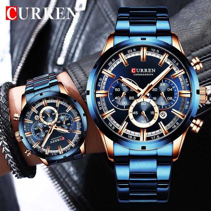 Nuevo CURREN hombres de moda relojes con tapa de acero inoxidable de la marca de lujo de deportes cronógrafo reloj de cuarzo de los hombres Relogio Masculino