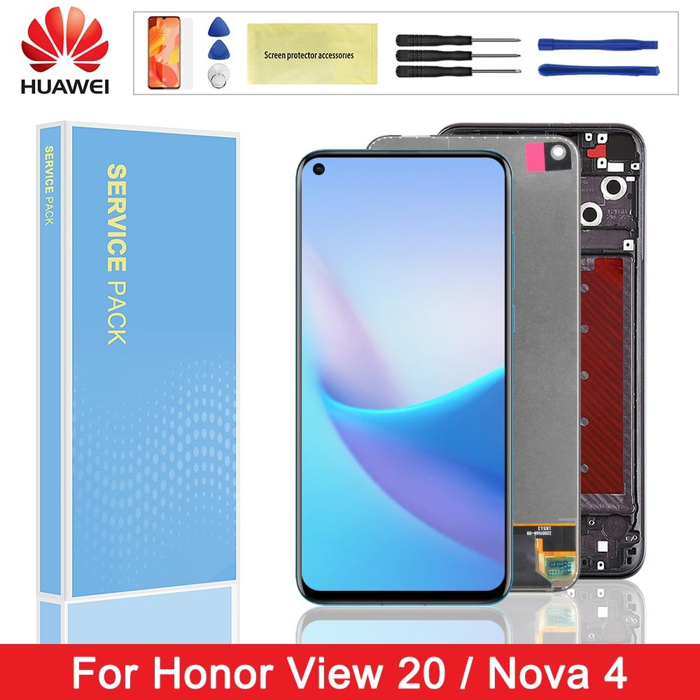 "6,4 ""Huawei Honor 20 V20 pantalla LCD Digitalizador de pantalla táctil con marco para Huawei Nova 4 VCE-AL00 VCE-TL00 VCE-L22"
