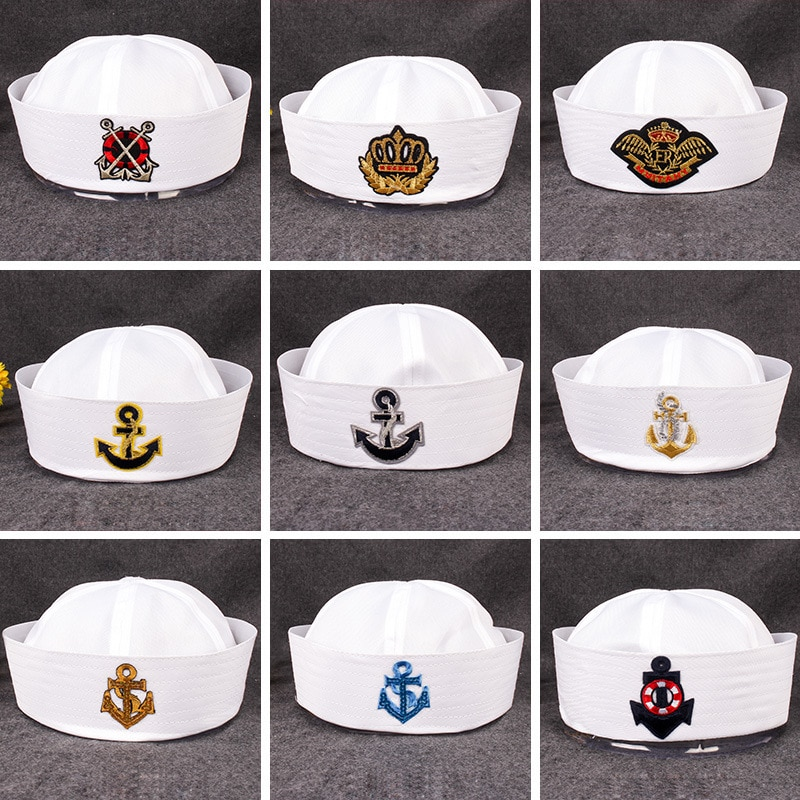 Sombreros militares para adultos, marineros, Capitán, sombrero blanco, gorra marina, ancla, navegación marítima, niños, fiesta, Cosplay, sombreros de Festival