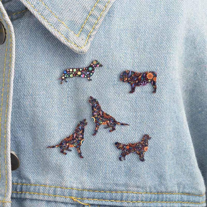 Broches esmaltados de dibujos animados de perro salchicha, broches de ropa de perro, decoración para bufanda, Pin de joyería para mujeres y niñas, regalo Unisex, bisutería 1 Uds.