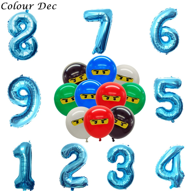 New 32inch 123 4th  Ninja Theme Balloons for Boys Kids Birthday Party Dec12inch Latex Ninja Balloon Party Supplies