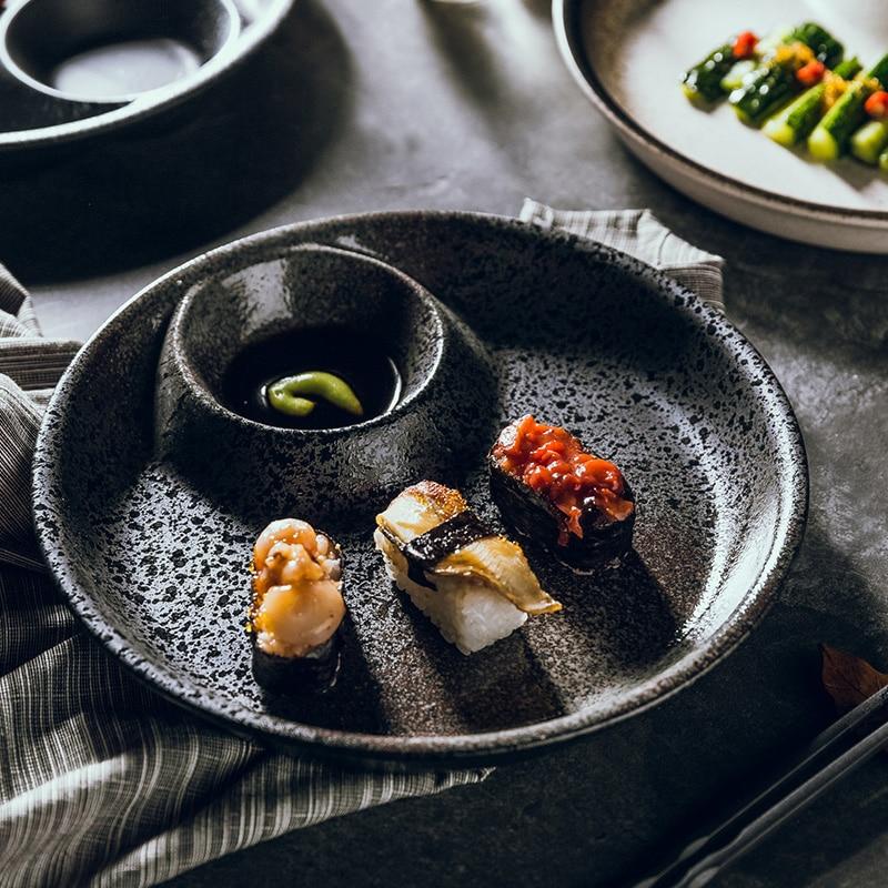 طبق زلابية على الطريقة اليابانية للاستخدام المنزلي ، طبق زلابية ريترو مبتكر مع طراز ، طبق سيراميك ، طبق سوشي ، طبق مسطح
