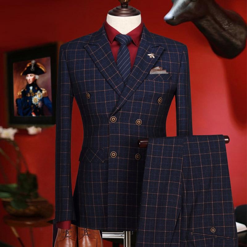 (السترة سترة) بدل زفاف للرجال هدايا السنة الجديدة الشتاء الأزرق العميق منقوشة مزدوجة الصدر مرحلة ملابس الرجال الرسمي الرجال الدعاوى