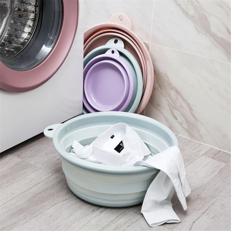 Portable Folding Washbasin Camping Travel Tourism Outdoor Foldable Bucket Basin Bathroom Wash Basin Household Laundry With 2Hook enlarge