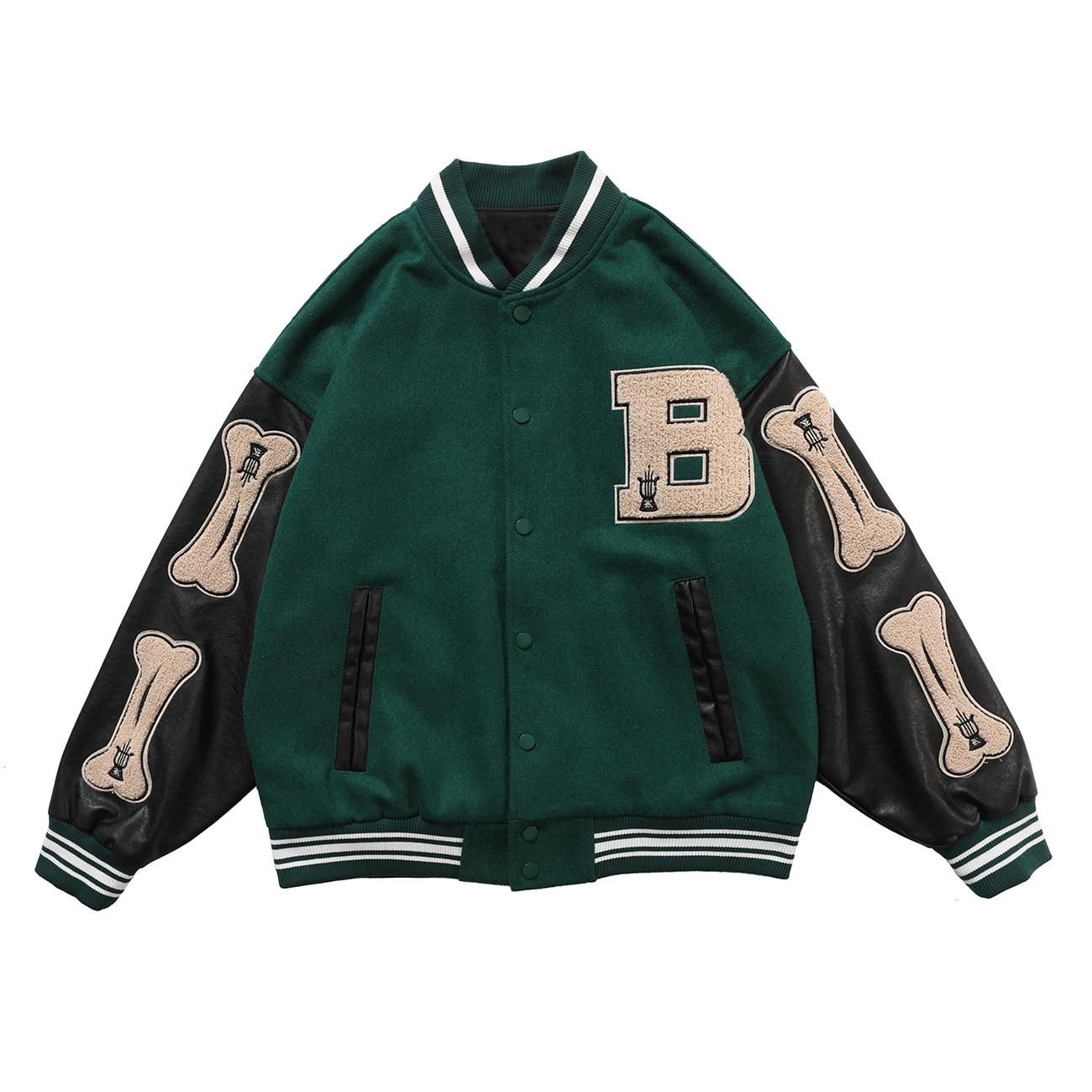 LACIBLE 2020SS Hip Hop Furry Bone Patchwork Color Block Jackets Mens Harajuku Streetwear Bomber Jacket Men Baseball Coats Unisex