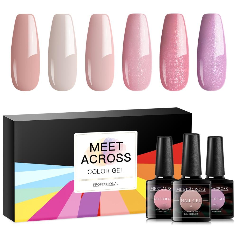 MEET ACROSS 6PCS Gel Nail Polish Set 8ml Gel Polish Nail Kit UV Gel Set For Gel Varnish Manicure Set For Nail Art Lacquer