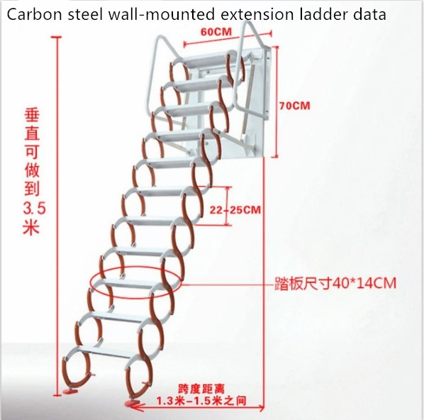 Household tool set outdoor wall-mounted telescopic staircase manual folding ladder portable telescopic staircase 2.5-3M enlarge