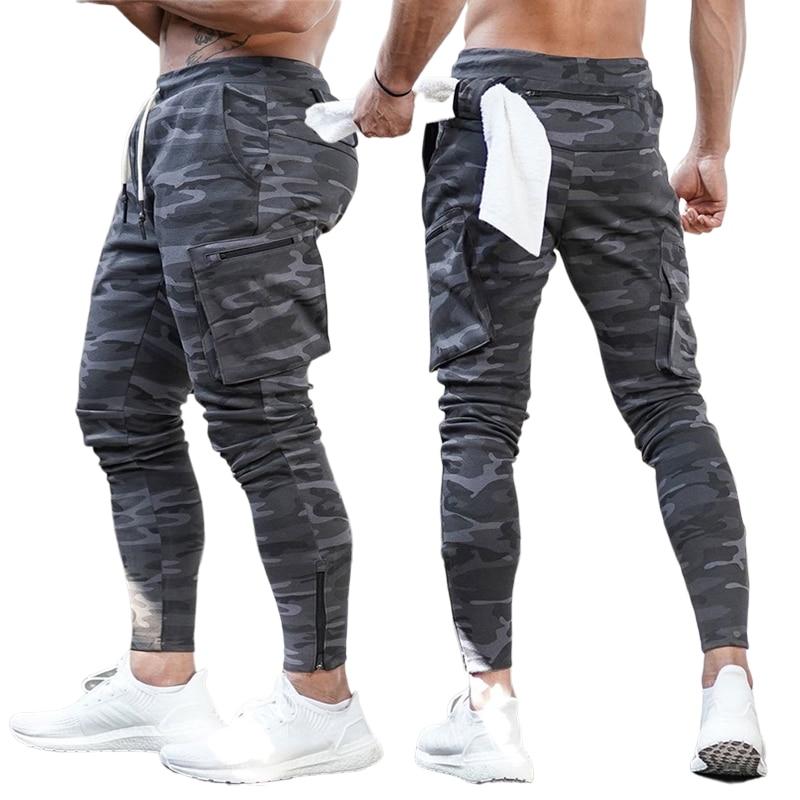 Sport Men Pants Cotton Zipper Multiple Pockets Casual Cargo Sweatpants Jogger Fitness Workout Tactical Pants Camouflage Trousers